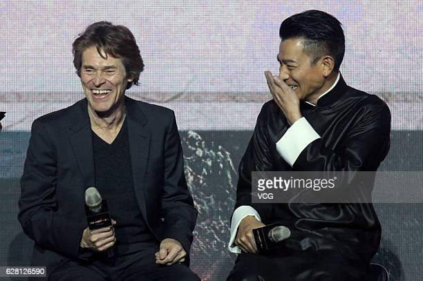 American actor Willem Dafoe and Hong Kong actor Andy Lau attend the premiere of director Zhang Yimou's film 'The Great Wall' on December 6 2016 in...