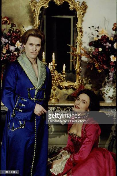 American actor Willem Dafoe and Swedish actress Lena Olin on the set of the 1995 movie The Night and the Moment directed by AnnaMaria Tato