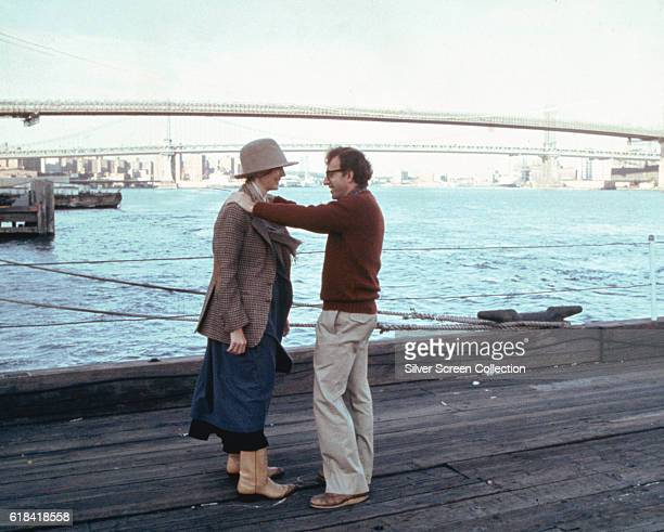 American actor writer and director Woody Allen as Alvy Singer and actress Diane Keaton as Annie Hall in the romantic comedy film 'Annie Hall' New...