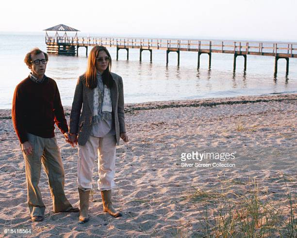 American actor writer and director Woody Allen as Alvy Singer and actress Diane Keaton as Annie Hall in the romantic comedy film 'Annie Hall' 1977
