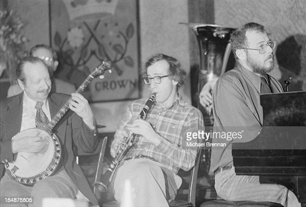 American actor writer and director Woody Allen plays the clarinet in Michael's Pub Manhattan on the night his movie 'Annie Hall' won four Academy...