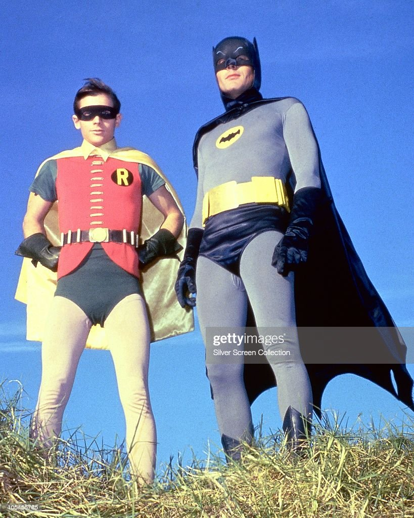 American actors Adam West as Bruce Wayne/Batman and Burt Ward as Dick Grayson/Robin in the TV series 'Batman', circa 1966.