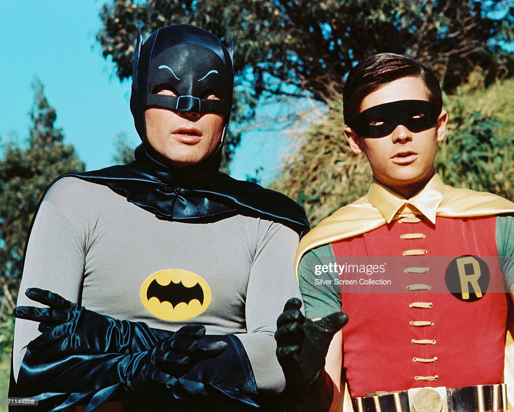 American actors <a gi-track='captionPersonalityLinkClicked' href=/galleries/search?phrase=Adam+West+-+Actor&family=editorial&specificpeople=235413 ng-click='$event.stopPropagation()'>Adam West</a> as Bruce Wayne/Batman and <a gi-track='captionPersonalityLinkClicked' href=/galleries/search?phrase=Burt+Ward&family=editorial&specificpeople=588730 ng-click='$event.stopPropagation()'>Burt Ward</a> as Dick Grayson/Robin in the TV series 'Batman', circa 1966.