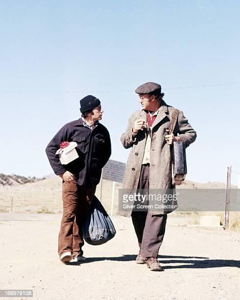 American actors Al Pacino and Gene Hackman as Francis Lionel 'Lion' Delbuchi and Max Millan in 'Scarecrow' directed by Jerry Schatzberg 1973