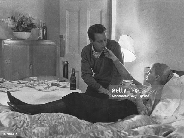 American actors and newlyweds Paul Newman and Joanne Woodward February 1958