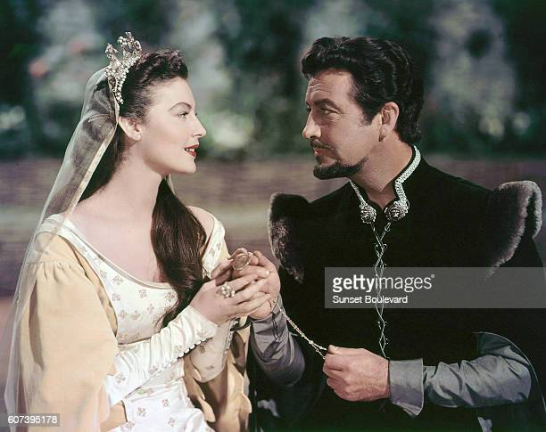 American actors Ava Gardner and Robert Taylor on the set of Knights of the Round Table directed by Richard Thorpe