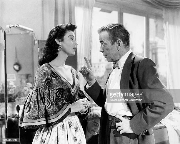 American actors Ava Gardner as Maria Vargas and Humphrey Bogart as Harry Dawes in 'The Barefoot Contessa' directed by Joseph L Mankiewicz 1954