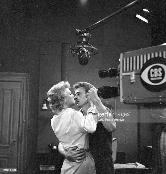 American actors Betsy Palmer and James Dean dance together in a production still from an episode of the anthology series 'Danger' called 'Death Is My...