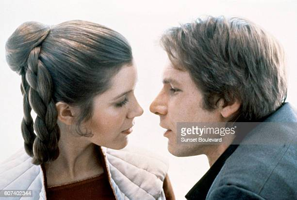 American actors Carrie Fisher and Harrison Ford on the set of Star Wars Episode V The Empire Strikes Back directed by Irvin Kershner