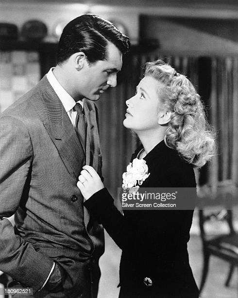 American actors Cary Grant as Mortimer Brewster and Priscilla Lane as Elaine Harper in 'Arsenic and Old Lace' directed by Frank Capra 1944