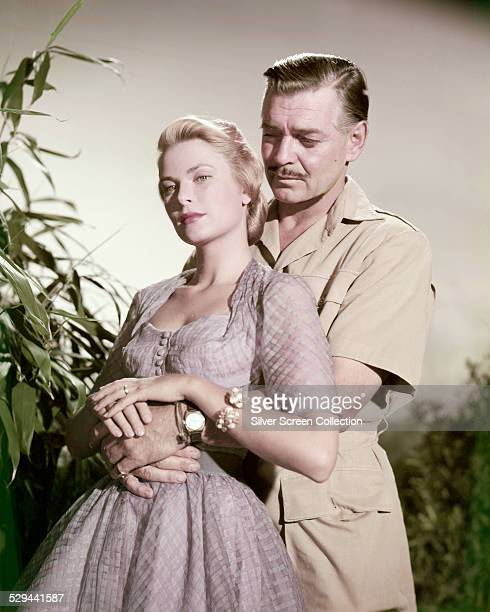American actors Clark Gable and Grace Kelly in a promotional portrait for 'Mogambo' directed by John Ford 1953