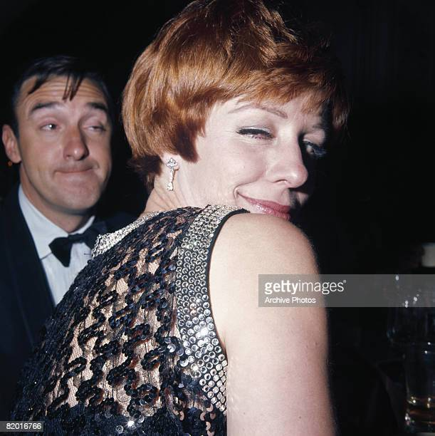 American actors comedians and singers Jim Nabors and Carol Burnett attend an Academy Awards party in Hollywood 10th April 1967