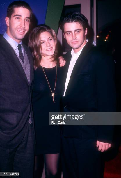 American actors David Schwimmer Jennifer Aniston and Matt LeBlanc of the television comedy Friend's pose for a portraitduring an NBC Press Tour...