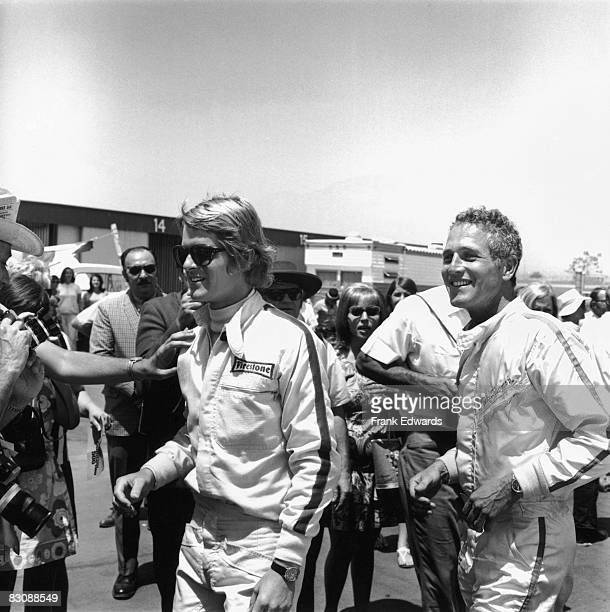 American actors Dean Paul Martin and Paul Newman at the Ontario Motor Speedway Ontario California where they will be competing in a procelebrity race...