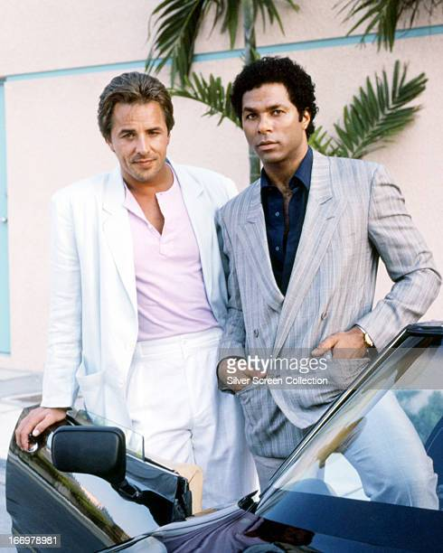 American actors Don Johnson and Philip Michael Thomas as detectives James 'Sonny' Crockett and Ricardo Tubbs in a promotional portrait for the TV...