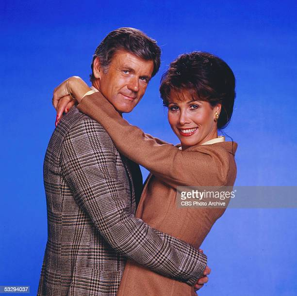 American actors Don Murray and Michele Lee of the CBS prime time soap opera 'Knot's Landing' smile and embrace November 1979