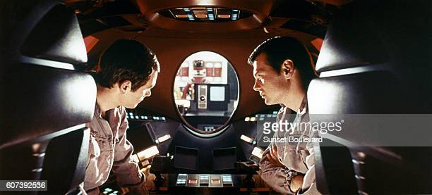 American actors Gary Lockwood and Keir Dullea on the set of 2001 A Space Odyssey written and directed by Stanley Kubrick