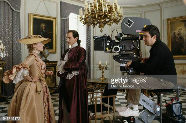 American actors Glenn Close and John Malkovich on the set of the film 'Dangerous Liaisons' based on the Choderlos de Laclos novel by the same title...