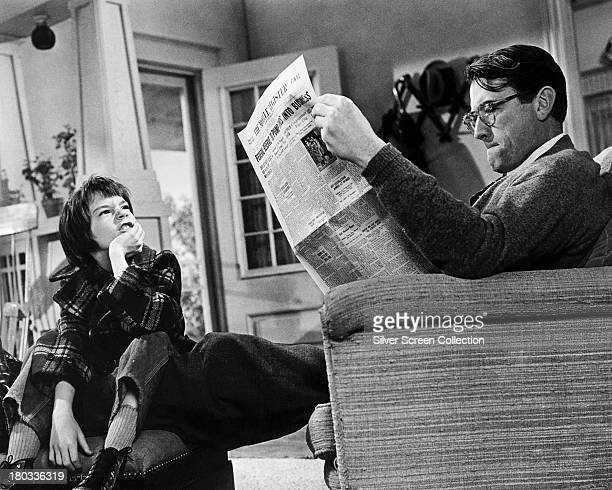 American actors Gregory Peck as Atticus Finch and Mary Badham as Scout in 'To Kill A Mockingbird' directed by Robert Mulligan 1962