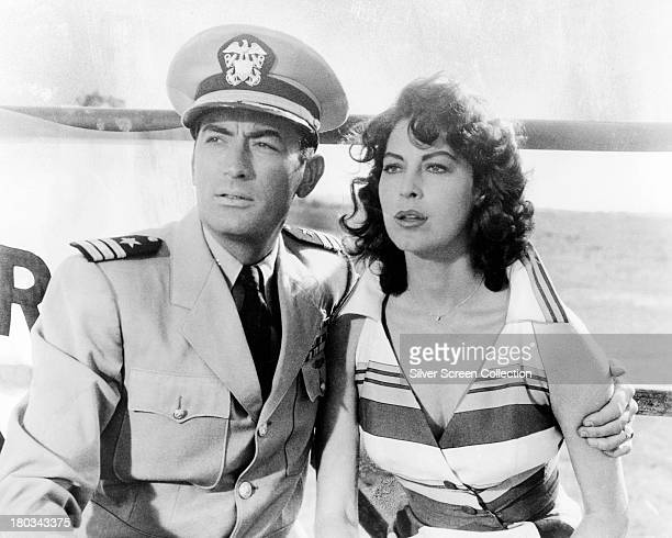 American actors Gregory Peck as Commander Dwight Lionel Towers and Ava Gardner as Moira Davidson in 'On the Beach' directed by Stanley Kramer 1959