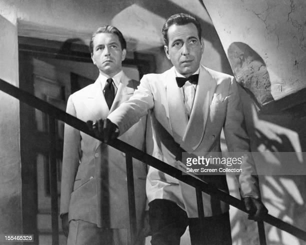 American actors Humphrey Bogart as Rick Blaine and Paul Henreid as Victor Laszlo in 'Casablanca' directed by Michael Curtiz 1942