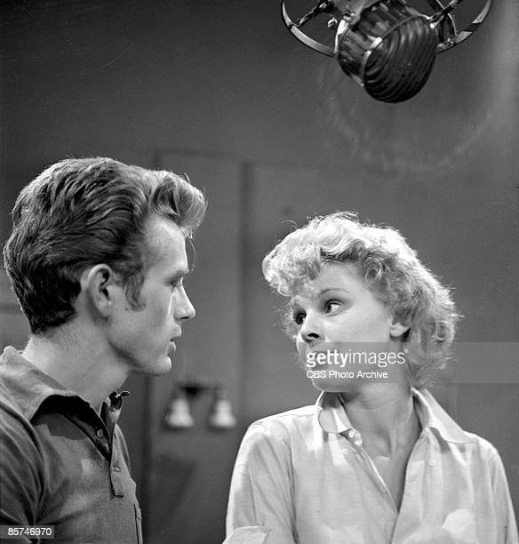 American actors James Dean and Betsy Palmer in a production still from an episode of the anthology series 'Danger' called 'Death Is My Neighbor'...