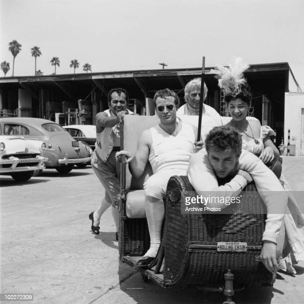 American actors James Dean and Marlon Brando at Twentieth Century Fox studios Los Angeles California 1954 Brando is playing Napoleon in Henry...