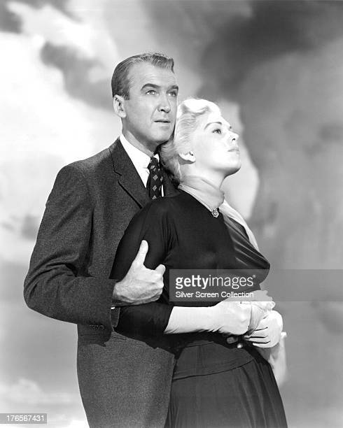 American actors James Stewart and Kim Novak in a publicity still for 'Vertigo' directed by Alfred Hitchcock 1958