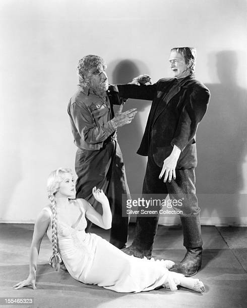 American actors Jane Randolph Lon Chaney Jr as The Wolf Man and Glenn Strange as Frankenstein's Monster in a promotional still for 'Abbott And...