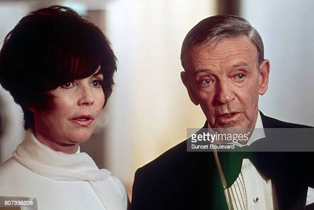 American actors Jennifer Jones and Fred Astaire on the set of The Towering Inferno based on the novel by Richard Martin Stern and directed by John...