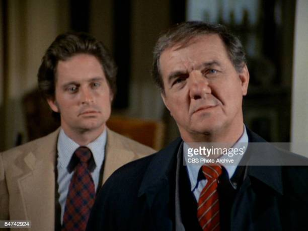 American actors Karl Malden as Lt Mike Stone and Michael Douglas as Inspector Steve Keller in a scene from an episode of the television show 'The...