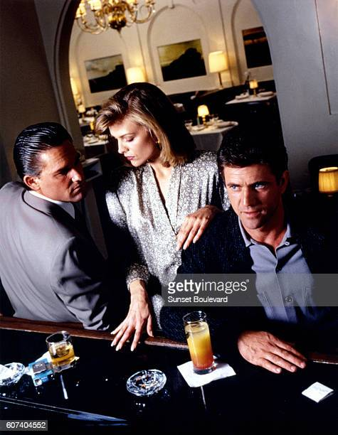 American actors Kurt Russell Michelle Pfeiffer and Mel Gibson on the set of Tequila Sunrise written and directed by Robert Towne