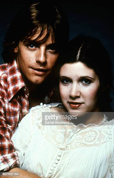 American actors Mark Hamill and Carrie Fisher on the set of Star Wars Episode IV A New Hope written directed and produced by Georges Lucas