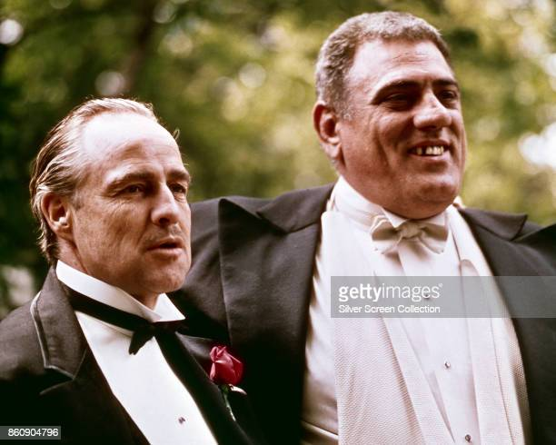American actors Marlon Brando and Lenny Montana in a scene from 'The Godfather' New York New York 1972