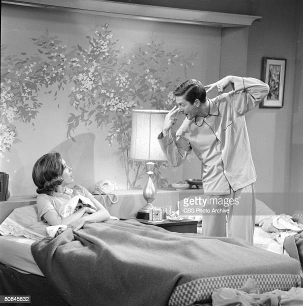 American actors Mary Tyler Moore and Dick Van Dyke in an episode of 'The Dick Van Dyke Show' entitled 'It May Look Like a Walnut' Culver City...