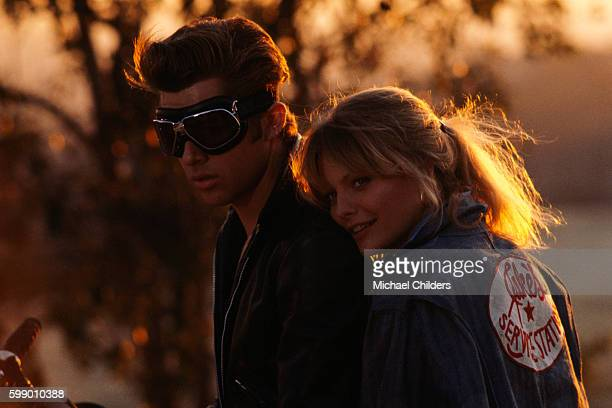 American actors Maxwell Caulfield and Michelle Pfeiffer on the set of Grease 2 by American director Patricia Birch