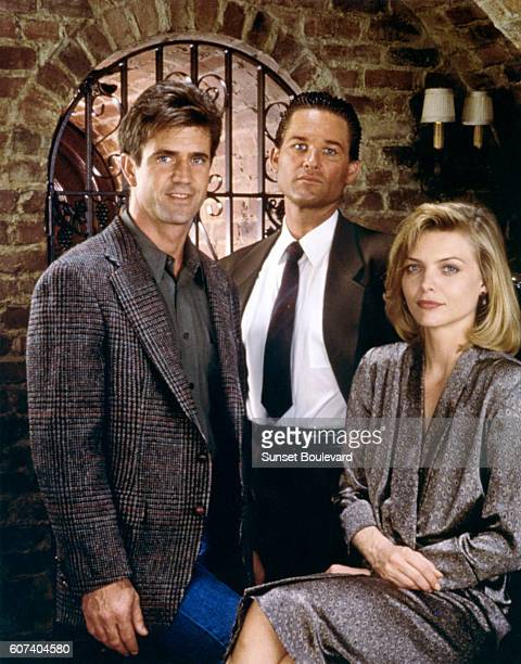 American actors Mel Gibson Kurt Russell and Michelle Pfeiffer on the set of Tequila Sunrise written and directed by Robert Towne