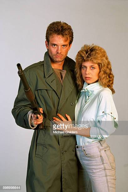 American actors Michael Biehn and Linda Hamilton star in the movie The Terminator by director screenwriter and producer James Cameron