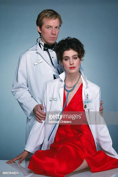 American actors Michael McKean and Sean Young on the set of Young Doctors in Love by director screenwriter producer and actor Gary Marshall