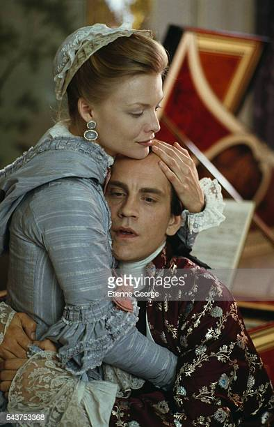 American actors Michelle Pfeiffer and John Malkovich on the set of the film 'Dangerous Liaisons' directed by English director Stephen Frears and...