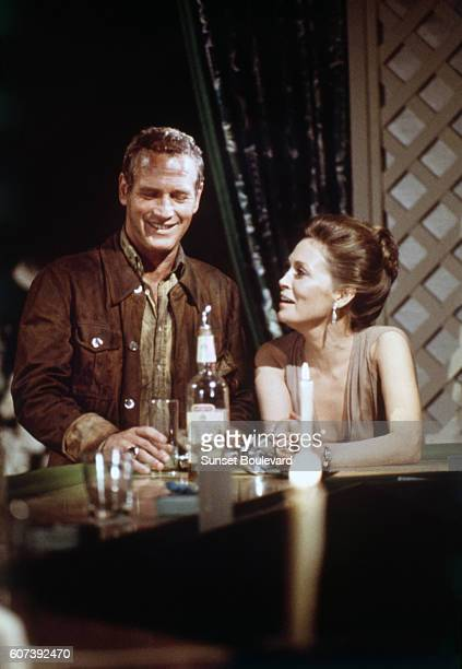 American actors Paul Newman and Faye Dunaway on the set of The Towering Inferno based on the novel by Richard Martin Stern and directed by John...