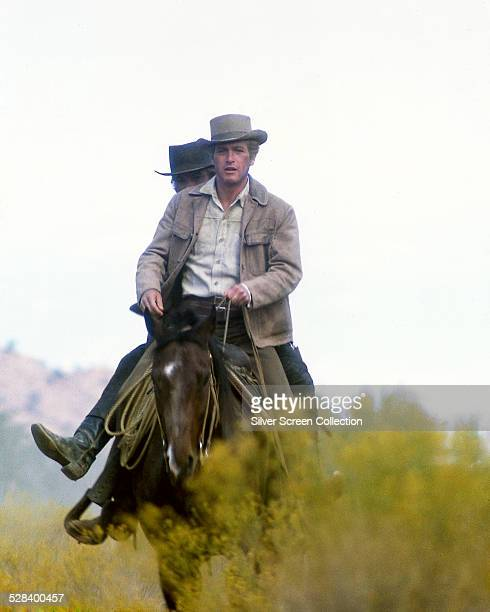 American actors Paul Newman as Butch Cassidy and Robert Redford as the Sundance Kid in 'Butch Cassidy And The Sundance Kid' directed by George Roy...