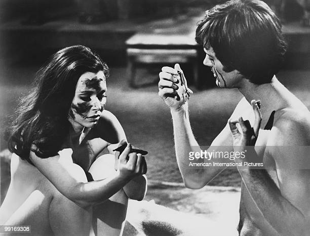 American actors Peter Fonda and Salli Sachse in a scene from 'The Trip' California USA 1966 The film was written by Jack Nicholson directed by Roger...