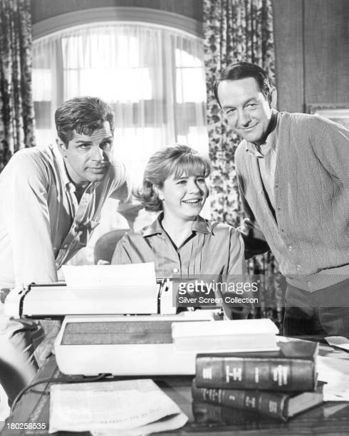 American actors Richard Gautier Patty Duke and William Schallert in a promotional portrait for 'Anywhere I Hang My Horn Is Home' an episode in the US...
