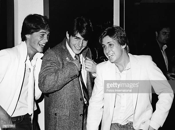 American actors Rob Lowe Tom Cruise and Emilio Estevez at the premiere screening of the TV movie 'In The Custody of Strangers' directed by Robert...