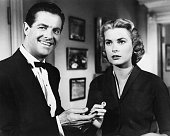 American actors Robert Cummings as Mark Halliday and Grace Kelly as Margot Mary Wendice in a scene from 'Dial 'M' for Murder' directed by Alfred...