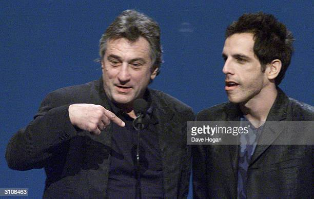 American actors Robert De Niro and Ben Stiller perform on stage at the MTV Music Video Awards held at Radio City Music Hall on September 7 2000 in...