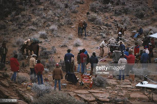 American actors Robert Redford and Jane Fonda film a scene for the film 'The Electric Horseman' USA January 1979