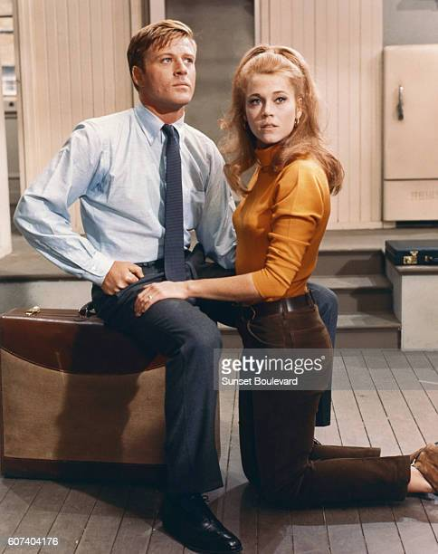 American actors Robert Redford and Jane Fonda on the set of Barefoot in the Park directed by Gene Saks