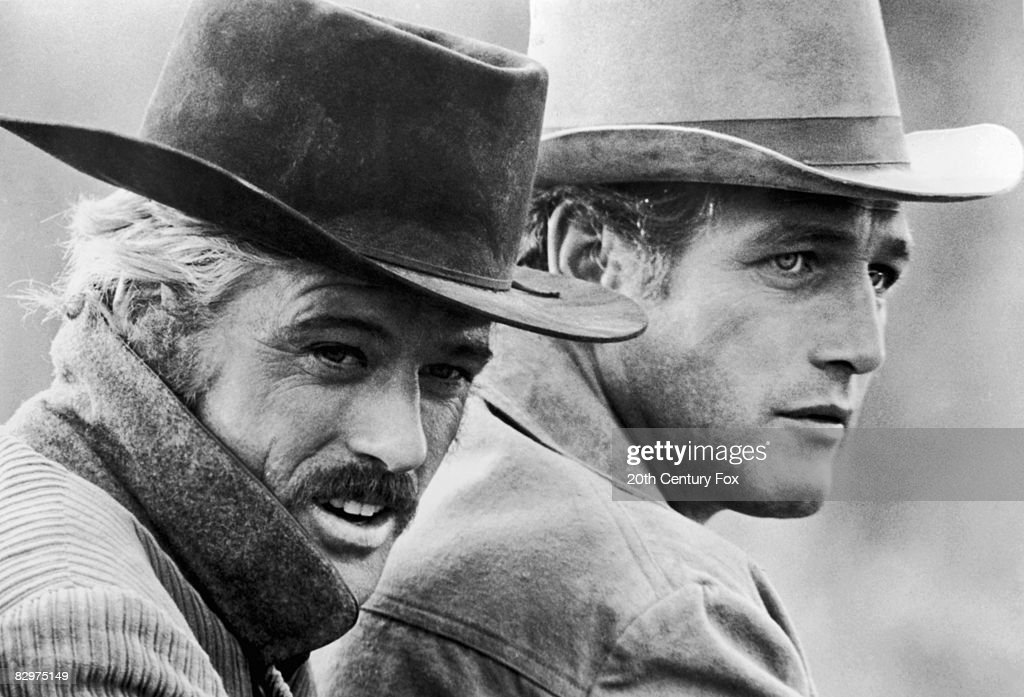 American actors Robert Redford (left) and Paul Newman in a still from the film, 'Butch Cassidy and the Sundance Kid,' directed by George Roy Hill, 1969.